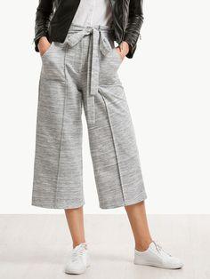 Pantalones cintura con cordón ancho - gris-Spanish SheIn(Sheinside)