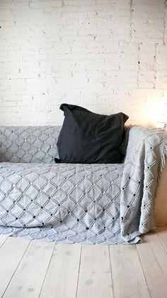 Vintage crocheted blanket  Gray por lacasadecoto en Etsy, €75.00
