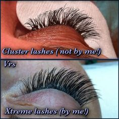 Be aware of people who claim to do eyelash extensions but are actually using clusters/flairs. There IS a difference!