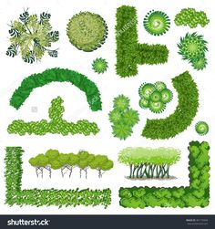 Trees And Bush Item Top View For Landscape Design