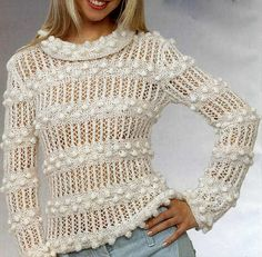 Hand knit bobbles and lace pullover, BANDofTAILORS, Etsy