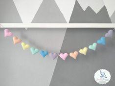 Rainbow Butterfly, Rainbow Heart, Baby Shower Garland, Name Bunting, Rainbow Nursery, Rainbow Decorations, Heart Garland, Wool Felt, Nursery Decor