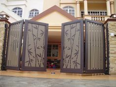 34 Amazing Steel Gate Design Ideas Match With Any Home Design - The purpose of home security gates is simple. They increase the level of security of the property and help to keep the family safe. They can enhance t. House Main Gates Design, Front Gate Design, Door Gate Design, Door Design Interior, House Design, House Front Gate, Front Gates, Entrance Gates, Gate Designs Modern
