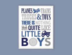 Planes trains trucks and toys Boys Room Wall Art blue by Especia