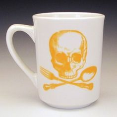 I'm sure my coffee would taste even better in this - Skull & Cross-Utensils Classic Mug Goldenrod Yellow By Foldedpigs