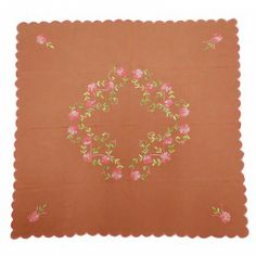 """Embroidered Table Cloth Cotton Handmade Brown Square Table Cover/Linen India 33"""" Square Tables, Table Covers, India, Brown, Artwork, Cotton, Handmade, Clothes, Home Decor"""