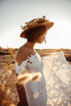 The Harley Gown - Lovers Society — Lovers Society Bridal Braids, Bridal Hat, Romantic Wedding Receptions, Romantic Weddings, Picnic Weddings, Wedding Picnic, Peach Weddings, Bohemian Style Dresses, Bohemian Bride