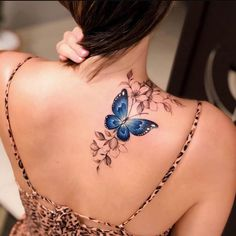Colour Tattoo For Women, Rose Tattoos For Women, Butterfly Tattoos For Women, Beautiful Tattoos For Women, Shoulder Tattoos For Women, Butterfly Tattoo Designs, Unique Tattoo Designs, Unique Tattoos, Small Tattoos