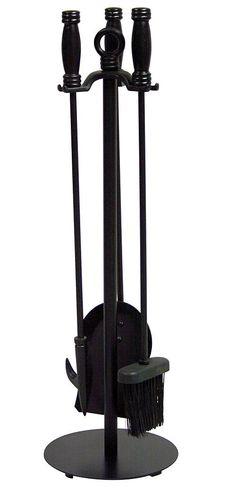 Uniflame® Black 4-Piece Fireplace Tools Set with Barrel Handles