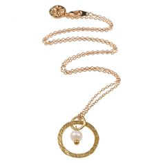 Taya Pendant with Freshwater Pearl Gold Plated on Brass On a Simple Chain Handmade, Fair Trade. Made in our London studio Natural Pearls Collection Hammered Gold, Brass, Fair Trade, Fresh Water, Plating, Pendants, Pendant Necklace, London, Pearls