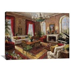 Global Gallery 'Classic Salon I' by Foxwell Original Painting on Wrapped Canvas Size: