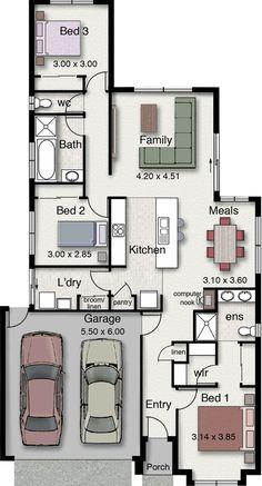 Plano de casa de 3 dormitorios con 2 garajes y diseño moderno-2