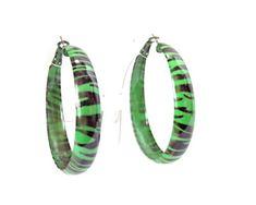 Green Zebra Print Hoop Earrings for costume 80s Jewelry, 80s Costume, Green Zebra, 80s Outfit, Bangles, Bracelets, Zebra Print, 1980s, Hoop Earrings