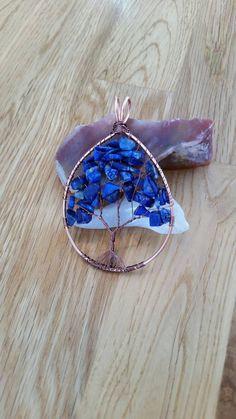 Beautiful Copper and Lapis Lazuli gemstone tree! Lapis Lazuli, Druzy Ring, Eye Candy, My Etsy Shop, Handmade Jewelry, Copper, Lovers, Pendants, Drop Earrings