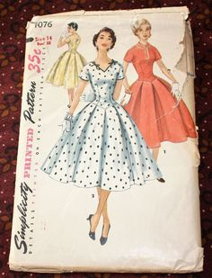 1950's Original Sewing Pattern Dress Bust 32 by SewDecadesAgo
