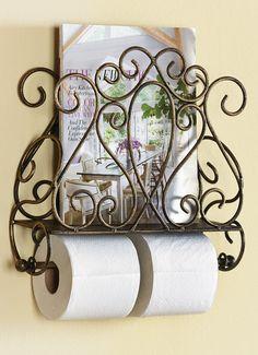 Scrolled Metal Wall Mount Bathroom Paper Towel Holder Magazine Holder Spacesaver