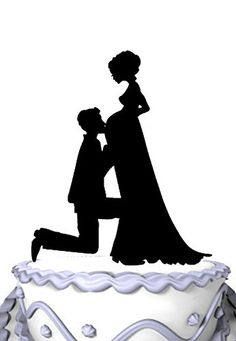 Meijiafei Pregnant Bride and Groom Silhouette Wedding Cake Topper >>> Click on the image for additional details.