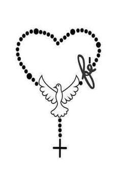 Fé...terço...pombo da paz... Body Art Tattoos, Tatoos, Cross Tattoos, Saved Tattoo, Holy Mary, Joker And Harley, Blessed Mother, Cello, Fashion Prints