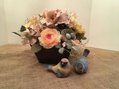 Vintage Floral Arrangement in a Treenware Box, Spring Floral Arrangement, Summer Floral Arrangement, Year Round Table Centerpiece, Wedding by SheilasHomeCreations on Etsy