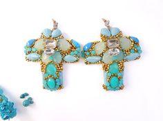 Turquoise cross earrings big earrings statement by JewelryLanChe
