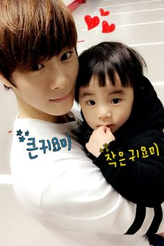 Moonbin looks so cute with this adorable baby