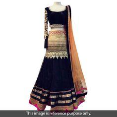 Net Zari Work Black Semi Stitched Bollywood Style Lehenga - 1413
