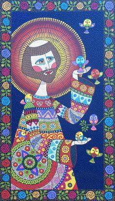 (clique nas imagens para ampliar)  Técnica: Mosaico de Tinta Tamanho:  107 x 61,5 cm  São Francisco e os passarinhos - Frontal  (clique nas ...
