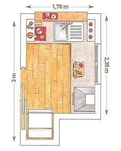 Plano de cocina en L con pasaplatos