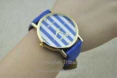 Navy blue leather bracelet watch women's wrist by BraceletTribal, $5.99 Fashion handmade leather jewelry