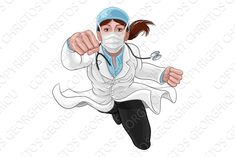Doctor Woman Super Hero Medical by Christos Georghiou on Doctor Drawing, Female Doctor, Woman Doctor, Doctor Picture, Female Superhero, Photoshop Design, Digital Stamps, Graphic Illustration, Illustrations