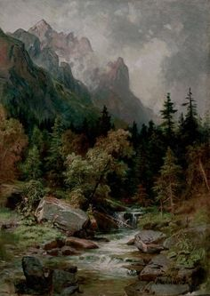 57 ideas landscape paintings mountain kevin oleary for 2019 Fantasy Landscape, Landscape Art, Landscape Paintings, Romantic Paintings, Great Paintings, Cool Landscapes, Beautiful Landscapes, River Painting, Scenery Pictures