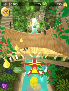 ScreenGrab of our avatar flying through the air in our squirrel suit power up, this is from an early version where the coins you collect were golden drops...its fun to see how a game evolves!