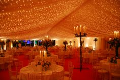 Extremely beautiful fairy lights with drapes.