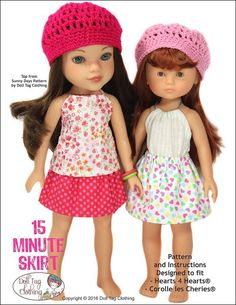 Easy to sew FREE skirt pattern for 13 to 14.5 inch Dolls like WellieWishers™; Corolle les Cheries; Heart 4 Hearts; Disney Toddler Princess (13 - 14inch); Today's Girl (Peterkin); Mine to Love (Melissa & Doug); Diana Effner Little Darlings. By Doll Tag Clothing.