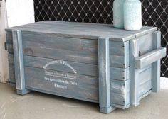 Shabby Vintage Truhe Couchtisch Holzkiste Kiste Sitzbank Sofatisch Frachtkiste