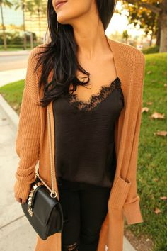 The HONEYBEE // Lace Cami + Duster Cardigan