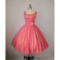 1950's Pink Chiffon Shelf-Bust Wedding Party Prom Dress S