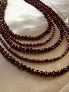 Burgundy Freshwater Pearl Necklace by BlackPearlCouture on Etsy