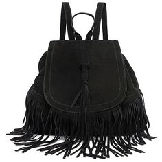 LUCLUC Tassels Magnetic Black Trendy Expandable Backpacks Bag ($47) ❤ liked on Polyvore featuring bags, backpacks, expandable backpack, expandable bag, black tassel bag, black rucksack and black backpack
