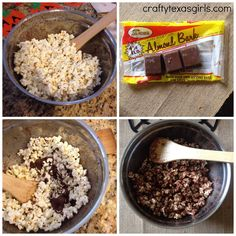 Easy Chocolate Popcorn for Halloween @craftytexasgirls.com #halloween #popcorn #chocolate #halloweentreat