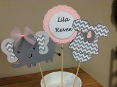 Pink and Grey Chevron It's a Girl by whimzypartycreations on Etsy