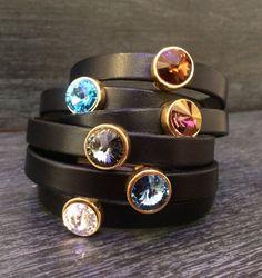 Swarovski Pulseras pulsera de cristal de oro por KuentaAlKuadrado