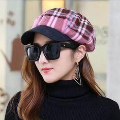 Cheap plaid newsboy cap for women wool blend berets winter hats