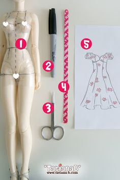 This tutorial will teach you how to create your own doll clothing patterns, whatever the size of your doll.