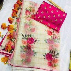 *#Floral #organza #sarees with #beautiful #tassels @ 6250+$* Shr Saree Kuchu New Designs, Brocade Blouse Designs, Saree Tassels Designs, Saree Blouse Neck Designs, Fancy Blouse Designs, Latest Saree Blouse, Cotton Saree Blouse, Bridal Silk Saree, Organza Saree