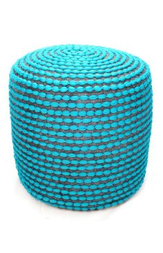 Turquoise Polyester Pouf $82.00 - out of stock now but they also have yellow, orange, red and lime green.