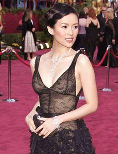 Zhang Jingchu in see through dress.