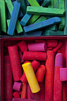 bright red, pink, green, blue, and yellow chalk