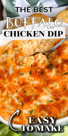 This is the best BUFFALO CHICKEN DIP recipe ever (with VIDEO). It's an easy 5 ingredient recipe for your next party or potluck. Creamy cheesy and tastes like buffalo chicken wings dipped in ranch dressing. Baked Buffalo Chicken Dip, Chicken Dips, Chicken Recipes, Chicken Wing Dip Recipe With Canned Chicken, Franks Chicken Wing Dip Recipe, Chicken Lip Dip, Shredded Buffalo Chicken, Appetizer Recipes, Dip Recipes For Parties