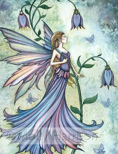 Morning Blue - Flower Fairy Watercolor Illustration - Fine Art Giclee Print by Molly Harrison Fantasy Art